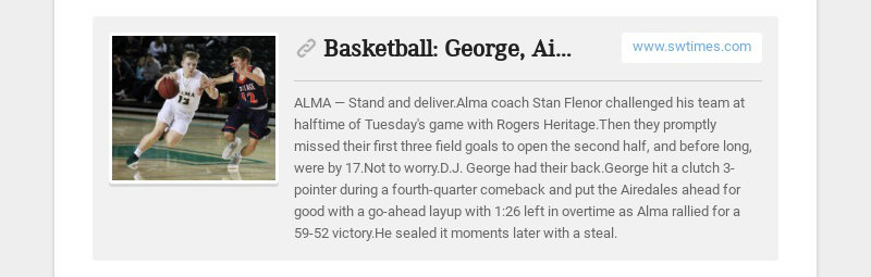 Basketball: George, Airedales pull off late comeback