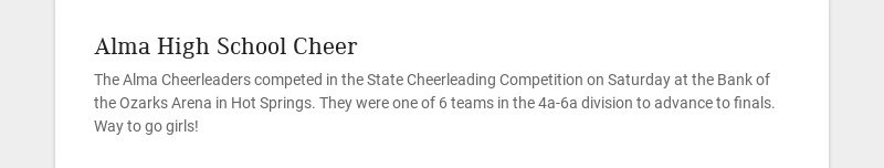 Alma High School Cheer
