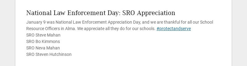 National Law Enforcement Day: SRO Appreciation