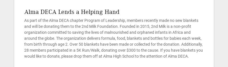 Alma DECA Lends a Helping Hand