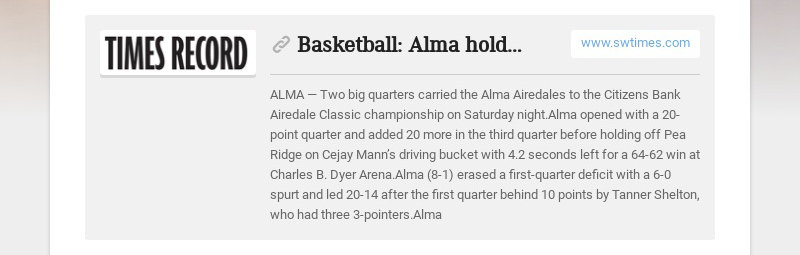 Basketball: Alma holds off Pea Ridge to take take title
