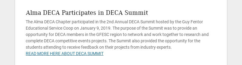 Alma DECA Participates in DECA Summit