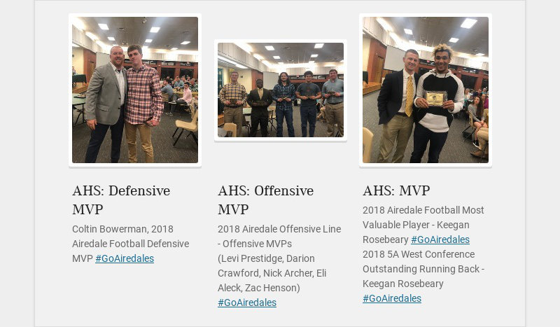 AHS: Defensive MVP Coltin Bowerman, 2018 Airedale Football Defensive MVP #GoAiredales AHS:...