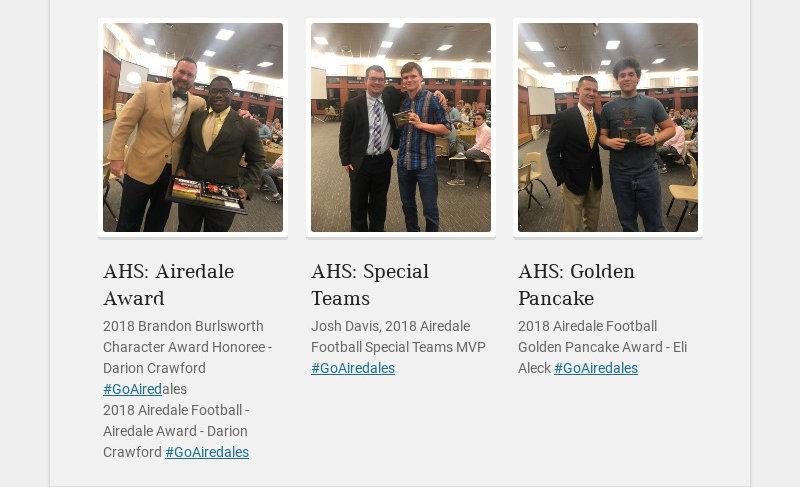 AHS: Airedale Award 2018 Brandon Burlsworth Character Award Honoree - Darion Crawford...