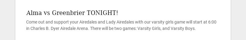 Alma vs Greenbrier TONIGHT!