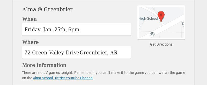 Alma @ Greenbrier When Friday, Jan. 25th, 6pm Where 72 Green Valley Drive Greenbrier, AR More...