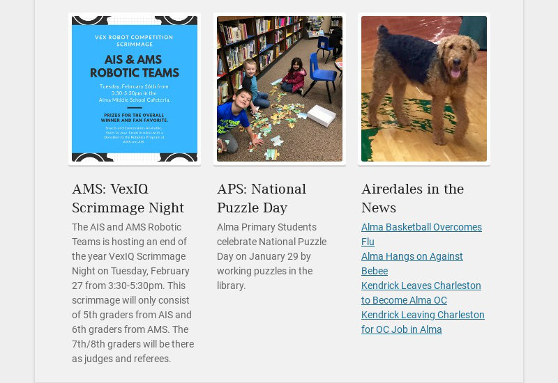 AMS: VexIQ Scrimmage Night The AIS and AMS Robotic Teams is hosting an end of the year VexIQ...
