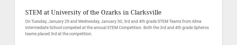 STEM at University of the Ozarks in Clarksville On Tuesday, January 29 and Wednesday, January 30,...