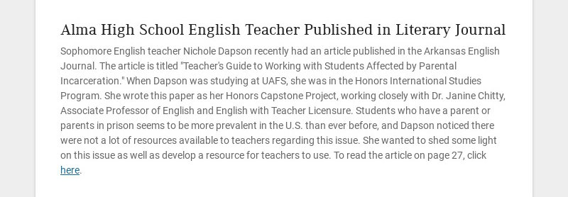 Alma High School English Teacher Published in Literary Journal