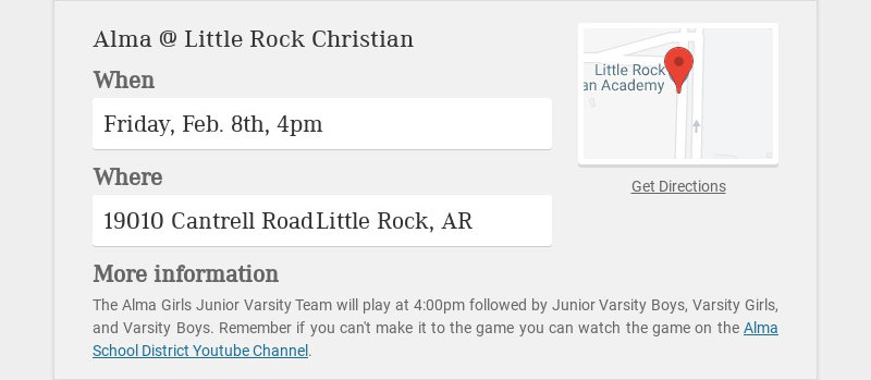 Alma @ Little Rock Christian