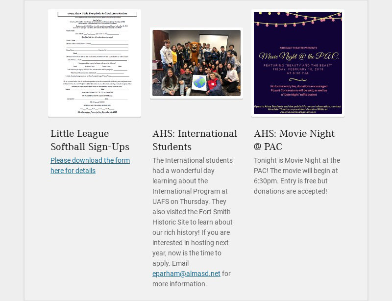 Little League Softball Sign-Ups Please download the form here for details AHS: International...