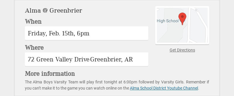 Alma @ Greenbrier When Friday, Feb. 15th, 6pm Where 72 Green Valley Drive Greenbrier, AR More...
