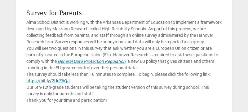 Survey for Parents Alma School District is working with the Arkansas Department of Education to...