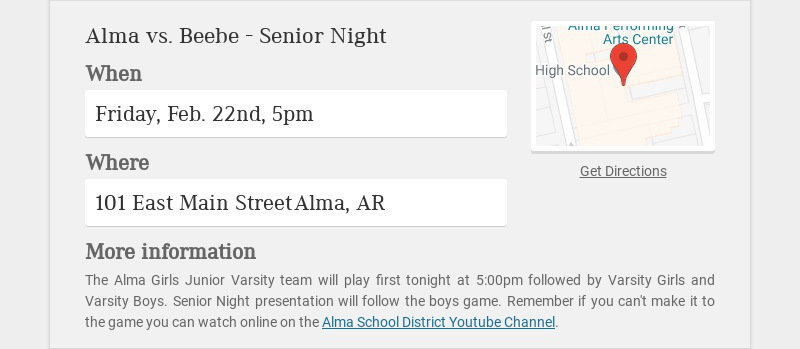 Alma vs. Beebe - Senior Night