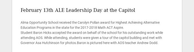 February 13th ALE Leadership Day at the Capitol