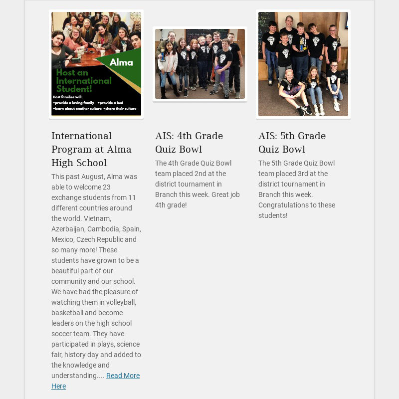 International Program at Alma High School This past August, Alma was able to welcome 23 exchange...