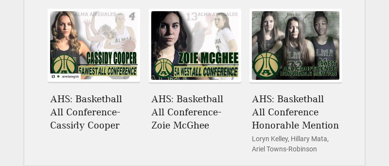 AHS: Basketball All Conference- Cassidy Cooper AHS: Basketball All Conference- Zoie McGhee AHS:...