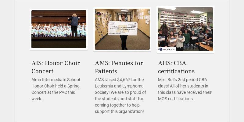 AIS: Honor Choir Concert Alma Intermediate School Honor Choir held a Spring Concert at the PAC...