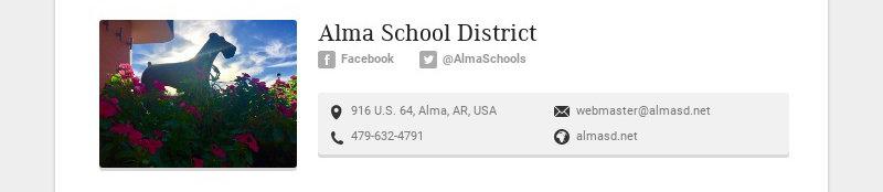 Alma School District Facebook @AlmaSchools 916 U.S. 64, Alma, AR, USA webmaster@almasd.net...