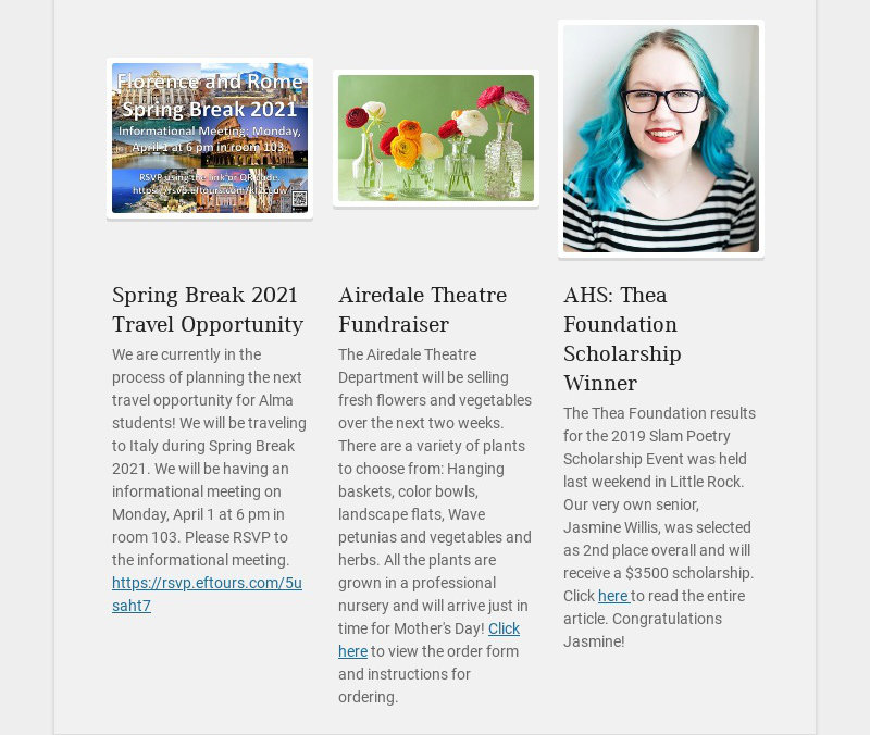 Spring Break 2021 Travel Opportunity
