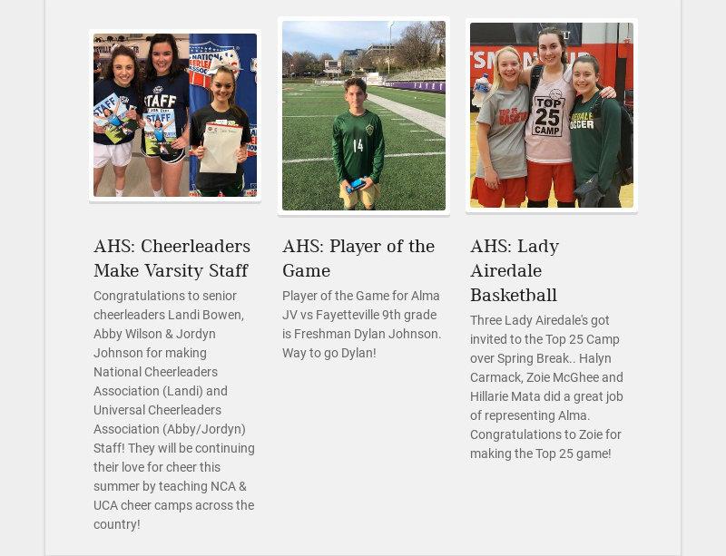 AHS: Cheerleaders Make Varsity Staff Congratulations to senior cheerleaders Landi Bowen, Abby...