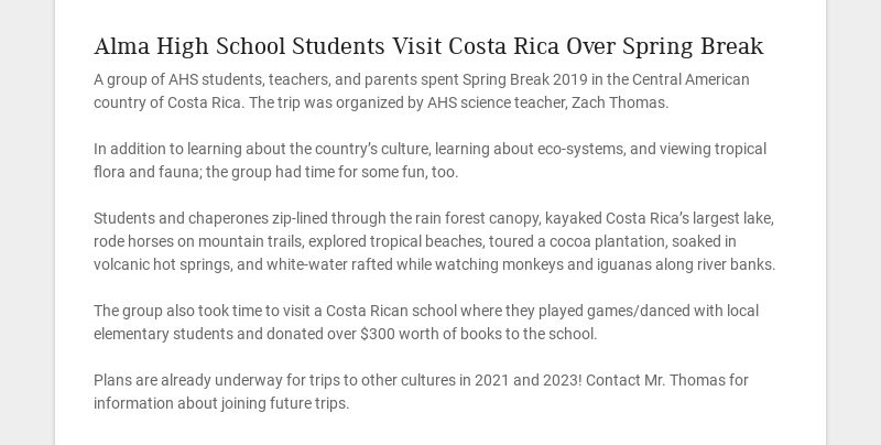 Alma High School Students Visit Costa Rica Over Spring Break
