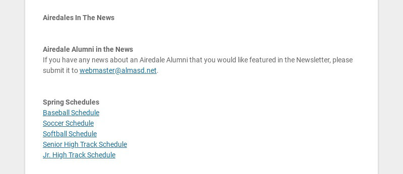 Airedales In The News Airedale Alumni in the News If you have any news about an Airedale...