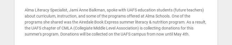Alma Literacy Specialist, Jami Anne Balkman, spoke with UAFS education students (future teachers)...