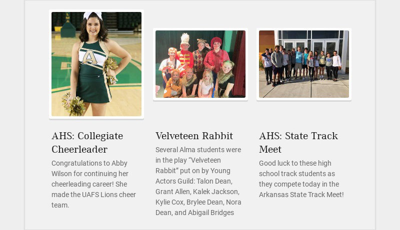 AHS: Collegiate Cheerleader Congratulations to Abby Wilson for continuing her cheerleading...