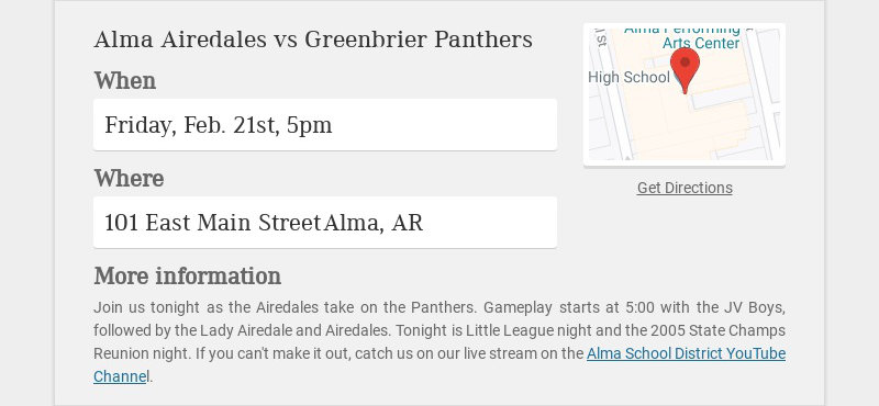 Alma Airedales vs Greenbrier Panthers