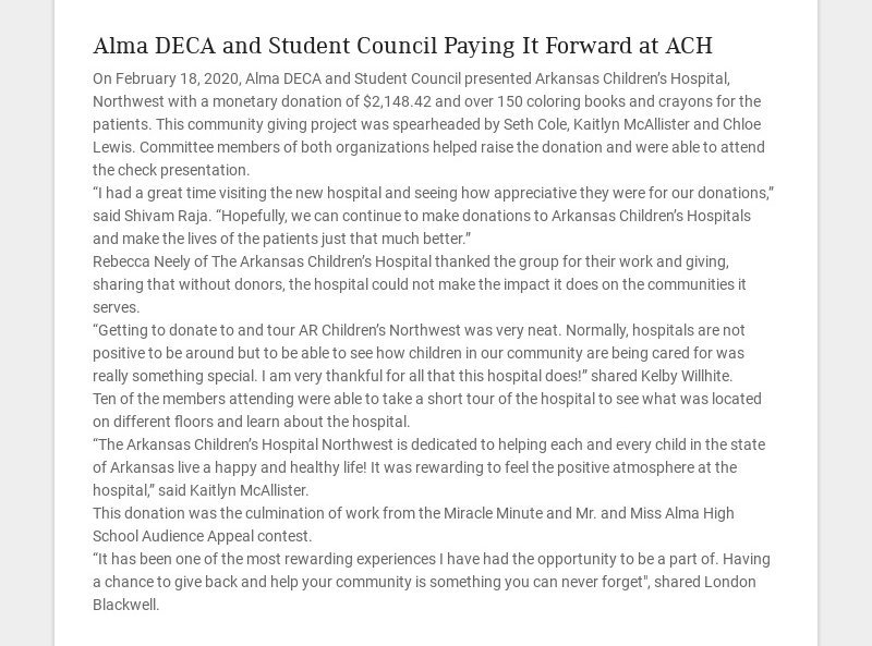 Alma DECA and Student Council Paying It Forward at ACH