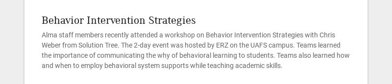 Behavior Intervention Strategies