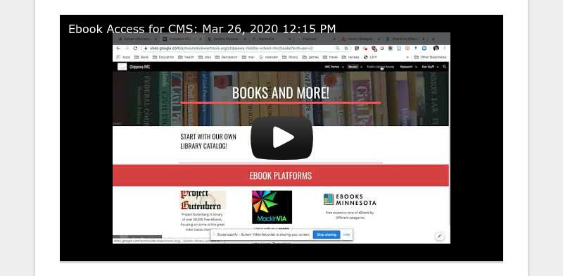 Ebook Access for CMS: Mar 26, 2020 12:15 PM