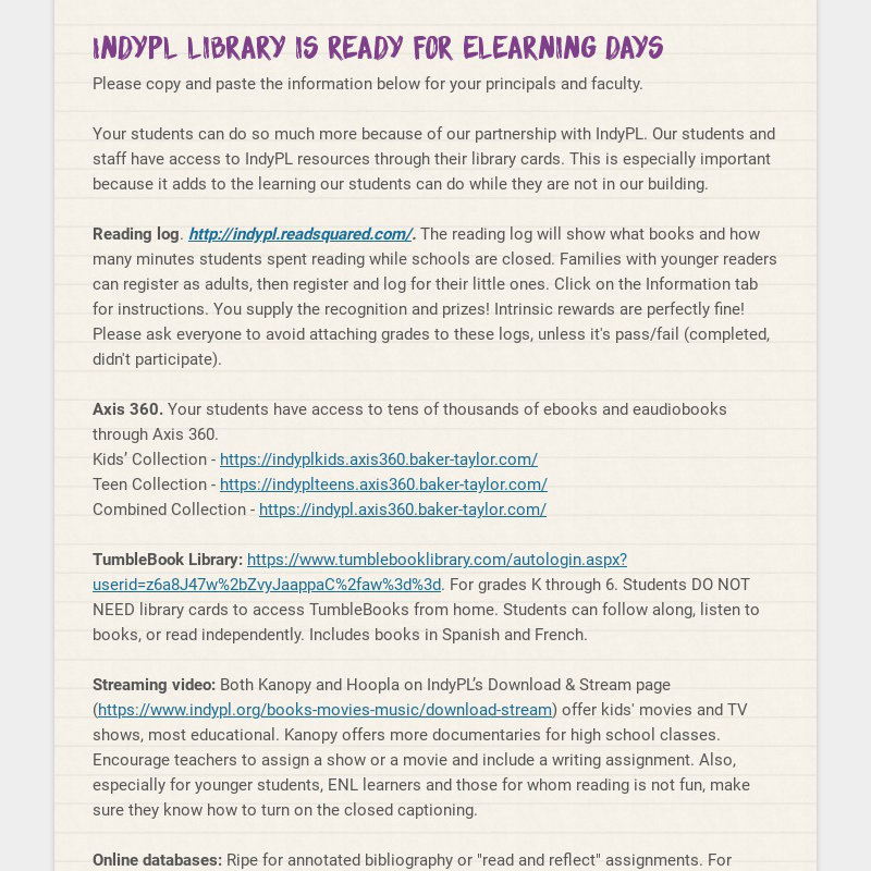 IndyPL Library is Ready for eLearning Days Please copy and paste the information below for your...