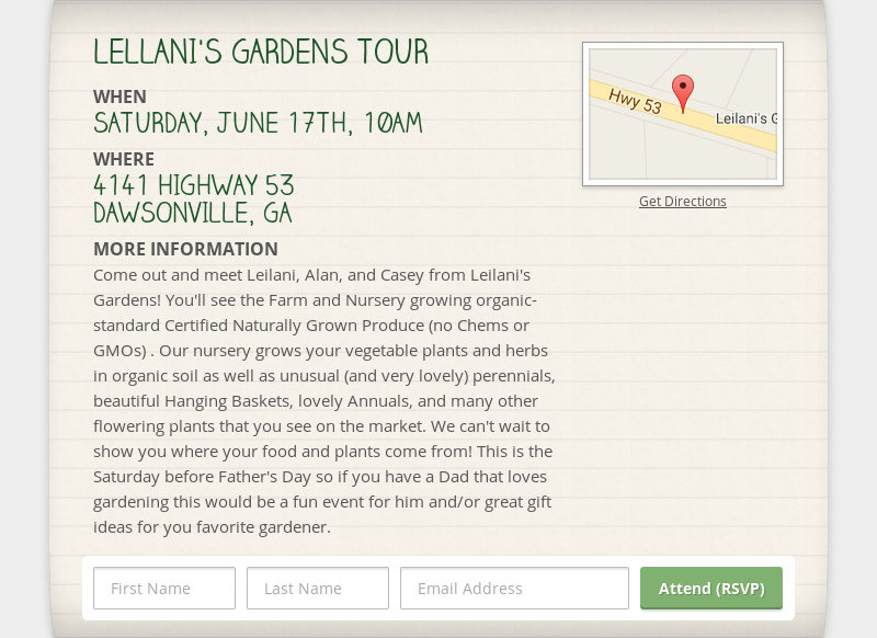 LELLANI'S GARDENS TOUR WHEN SATURDAY, JUNE 17TH, 10AM WHERE 4141 HIGHWAY 53 DAWSONVILLE, GA MORE...