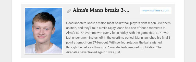 Alma's Mann breaks 3-point shooting mark