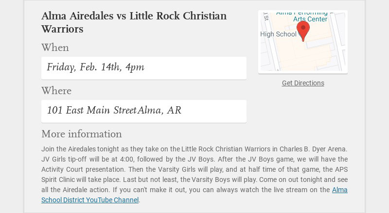 Alma Airedales vs Little Rock Christian Warriors