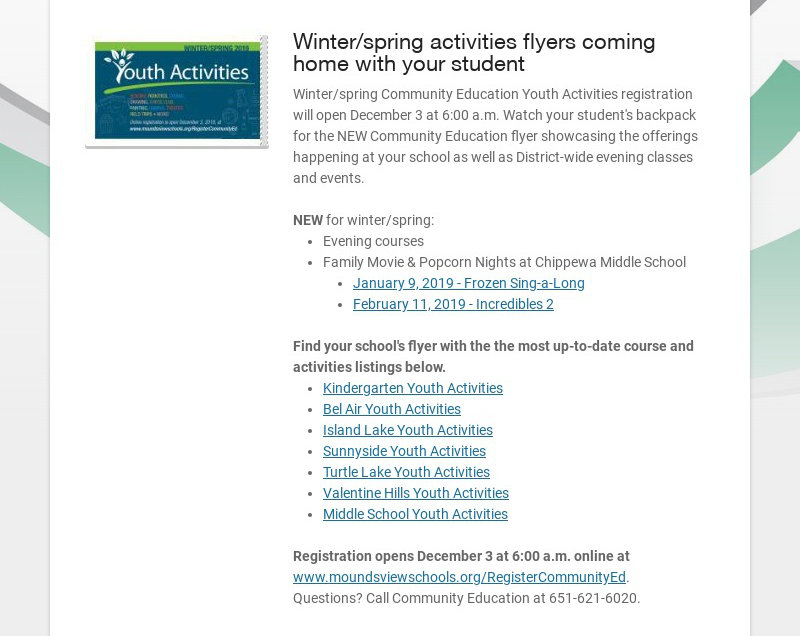 Winter/spring activities flyers coming home with your student