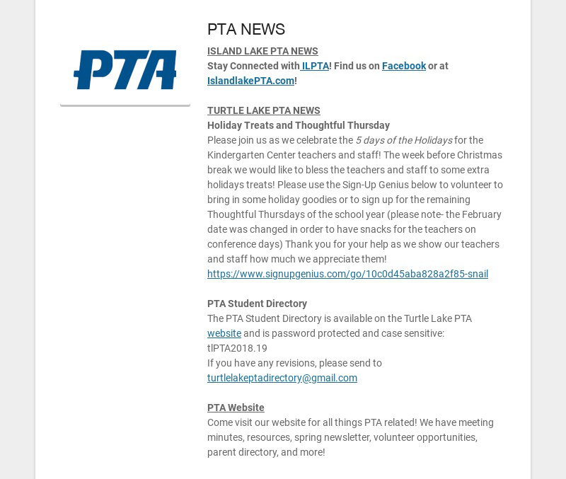 PTA NEWS