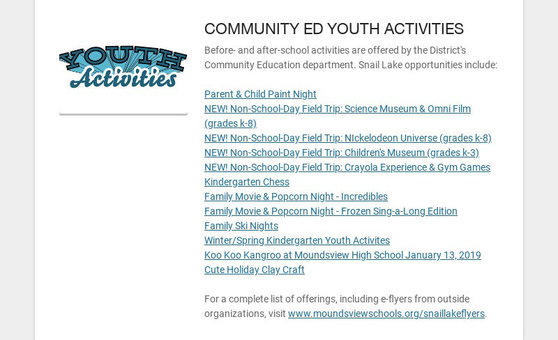 COMMUNITY ED YOUTH ACTIVITIES