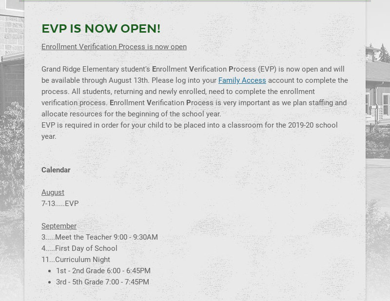 EVP IS NOW OPEN!