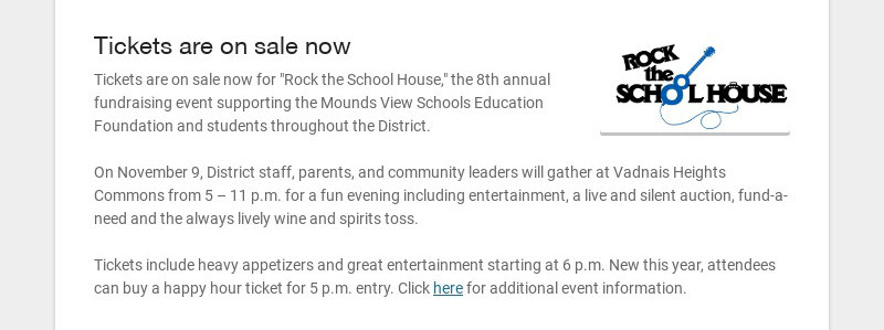 """Tickets are on sale now Tickets are on sale now for """"Rock the School House,"""" the 8th annual..."""