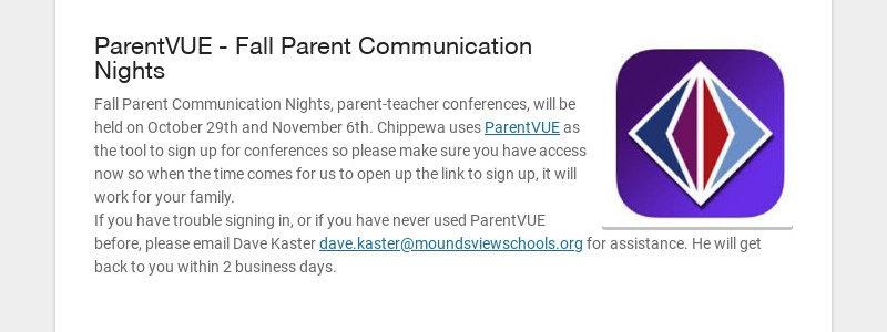 ParentVUE - Fall Parent Communication Nights Fall Parent Communication Nights, parent-teacher...