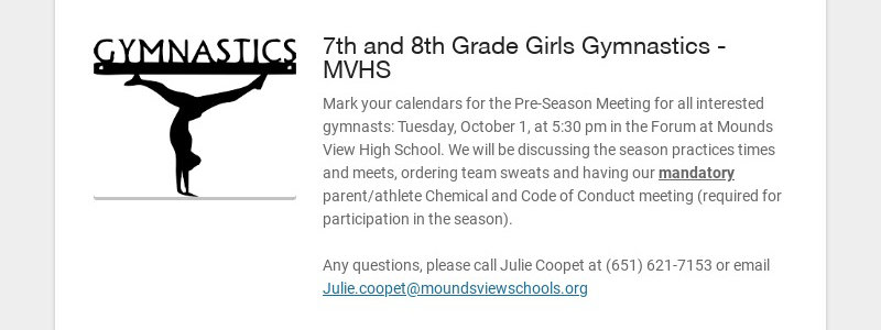 7th and 8th Grade Girls Gymnastics - MVHS Mark your calendars for the Pre-Season Meeting for all...