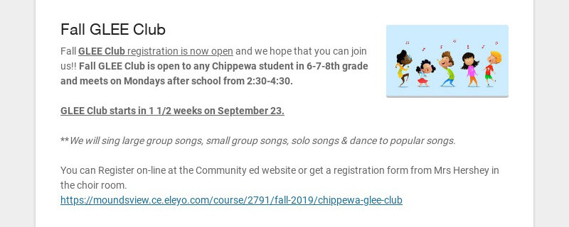 Fall GLEE Club Fall GLEE Club registration is now open and we hope that you can join us!! Fall...