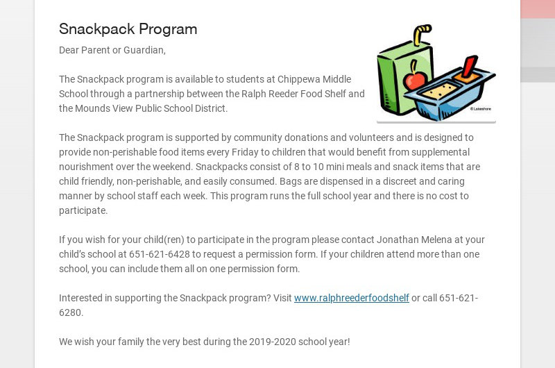 Snackpack Program Dear Parent or Guardian, The Snackpack program is available to students at...