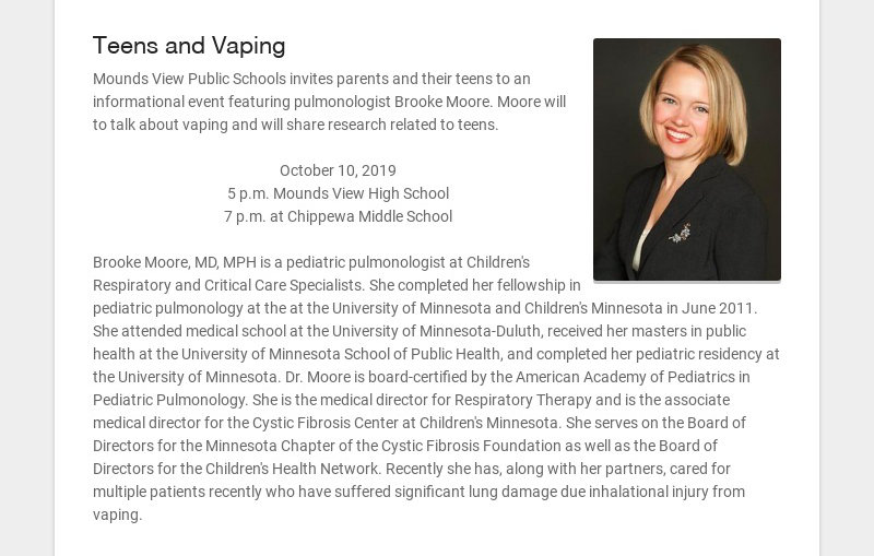 Teens and Vaping Mounds View Public Schools invites parents and their teens to an informational...