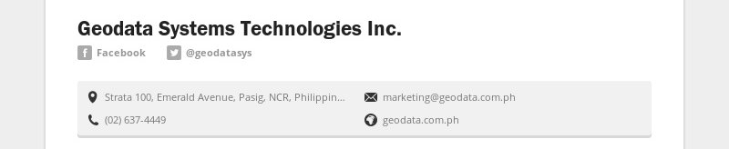 Geodata Systems Technologies Inc. Facebook @geodatasys Strata 100, Emerald Avenue, Pasig, NCR,...