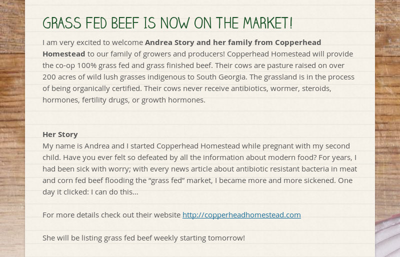 GRASS FED BEEF IS NOW ON THE MARKET! I am very excited to welcome Andrea Story and her family from...