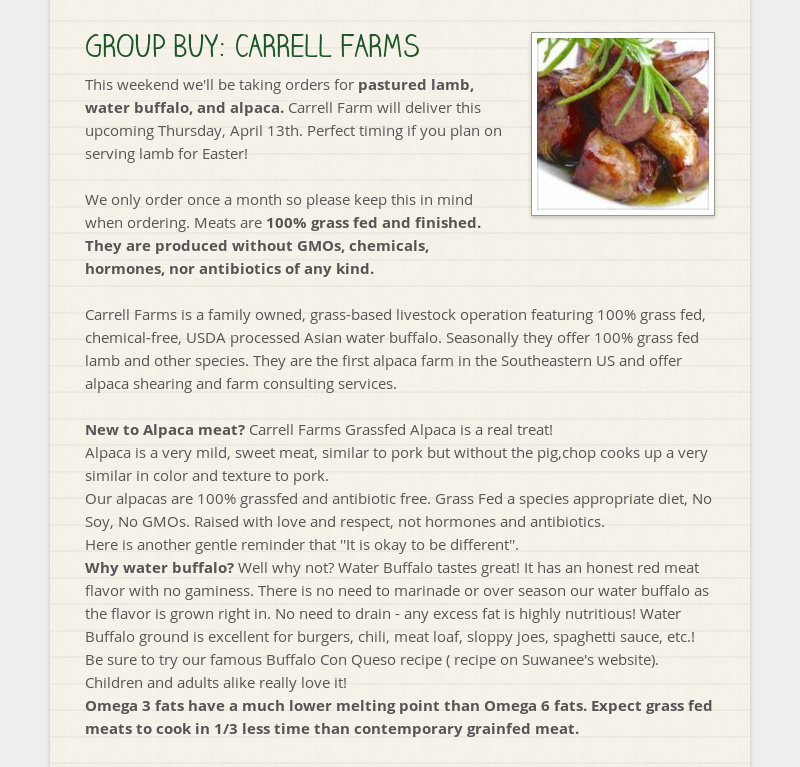 GROUP BUY: CARRELL FARMS This weekend we'll be taking orders for pastured lamb, water buffalo, and...